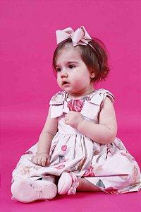 Vestido Taci Rosas Laço Ombro Baby