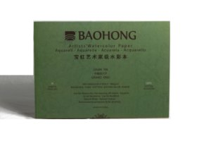 Bloco para aquarela Baohong Artists' watercolor Cold Press - 360x260mm 300gsm 20 folhas