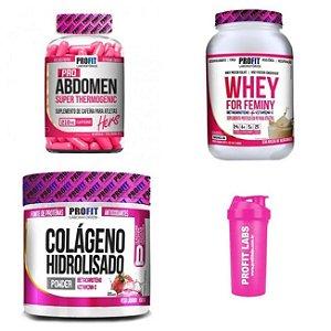 Combo Feminy (Whey Protein+Colageno+Termogenico+Coqueteleira)
