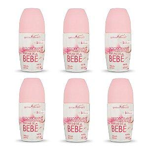 Kit Desodorante Antitranspirante Roll On Perfume de Bebê - 6 unidades