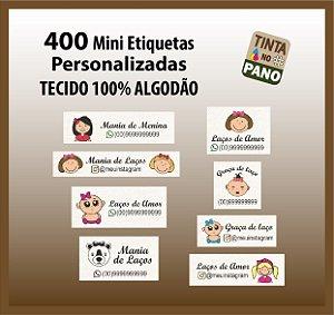 400 Mini Etiquetas Para Laços tecido natural