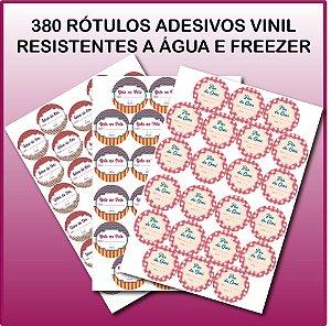380 Rótulos Vinil Resistentes a Água e Freezer 3,8x3,8cm - Personalizados