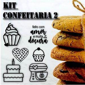 Kit 6 Carimbos Confeitaria 2 TAG Sacola Kraft