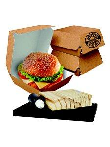 Carimbe Caixa de Burger 9,5 x 9,5 + Almofada + Tinta