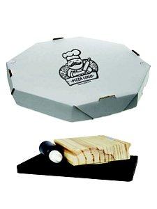 Carimbe Caixa de Pizza 9,5 x 9,5 + Almofada + Tinta