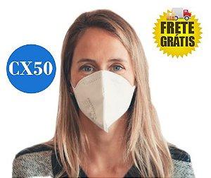 50 UN Máscara Respirador Descartável Dobrável sem Válvula N95 / PFF2 Branca - Protecface CA. 43.740