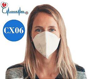 06 UN Máscara Respirador Descartável Dobrável sem Válvula N95 / PFF2 Branca - Protecface CA. 43.740