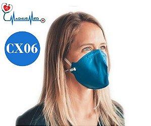06 UN Máscara Respirador Descartável Dobrável sem Válvula N95 / PFF2 azul - Protecface CA. 43.740