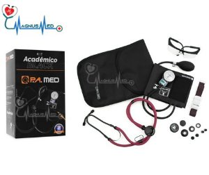 Kit Acadêmico LINHA BLACK (Esfigmo Adulto Nylon Fecho de Contato + Estetoscópio Rappaport BORDO) – P.A. MED