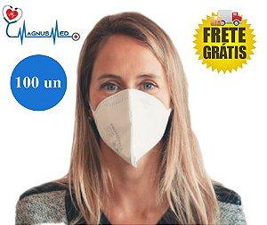 100 UN Máscara Respirador Descartável Dobrável sem Válvula N95 / PFF2 Branca - Protecface