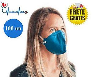100 UN Máscara Respirador Descartável Dobrável sem Válvula N95 / PFF2 Azul - Protecface  CA: 43.740