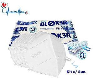 Kit c/5 - Máscara KN95 Respirador Proteção Reutilizável Profissional Respiratória PFF2 - Blok3r c/ Registro na Anvisa