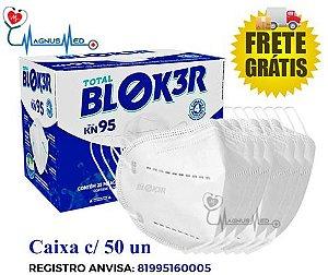 CAIXA c/ 50 - Máscara KN95 Respirador Proteção Reutilizável Profissional Respiratória PFF2 - Blok3r c/ Registro na Anvisa