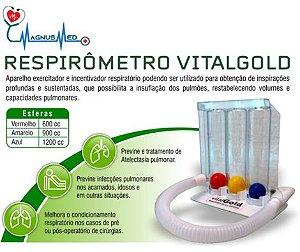 Exercitador Pulmonar Adulto Respirômetro - VitalGold