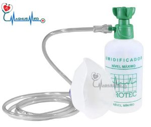 Umidificador de Oxigênio ( O2 ) 250ml com Extensão e Mascara adulta-  Protec