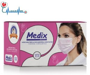 Máscara Tripla Descartável Com Filtro (BFE ≥95%) Rosa - Caixa 50 un. - Medix
