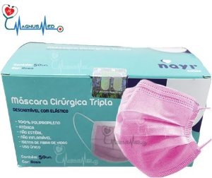 Máscara Tripla Descartável Com Filtro (BFE ≥95%) Rosa - Caixa 50 un - Nayr