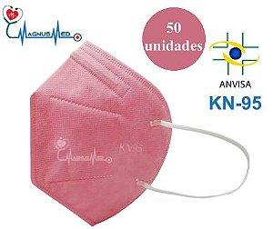 50 un MÁSCARA DE PROTEÇÃO PFF2 / KN95 ROSA - DEJAMARO