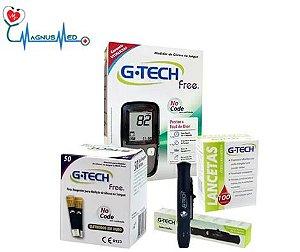 Medição Diabetes Glicose G Tech Free 50 Medições Kit Completo Econômico