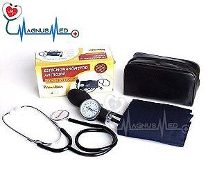 Esfigmo Aparelho de Pressão Adulto Nylon Velcro com Estetoscópio simples - Premium
