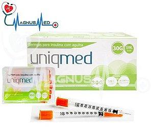 Seringa 1 ML com Agulha 08 X 0,3 ULTRAFINE caixa 10 pacotes com 10 Seringas - UNIQMED