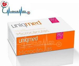 Microcânulas 18G x 70mm caixa 24 unidades - Uniqmed