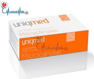 Microcânulas 25G x 40mm caixa 24 unidades - Uniqmed