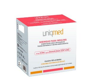 Seringas 0,5 ml 50ui 5mm x 0,23mm 32G p/ Insulina Toxina Botulínica Estética c/ 100 seringas - Uniqmed
