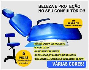 Capa para cadeira odontológica ANTIVIRAL!! Em couro fit com elastano