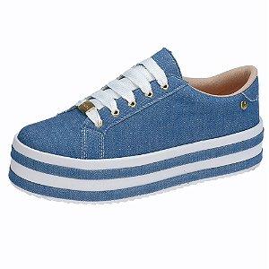Tênis Plataforma Domidona Sola alta Listrada Jeans