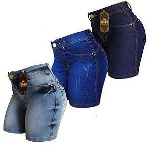 Kit 3 Shorts Jeans Mr Jeans Meia Coxa Cintura Alta