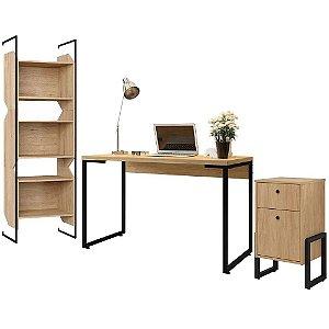 Kit Para Escritório Estante com Mesa Industrial e Gaveteiro Work