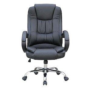 Cadeira Escritório Presidente, Base Cromada, Preta - Mb-C730