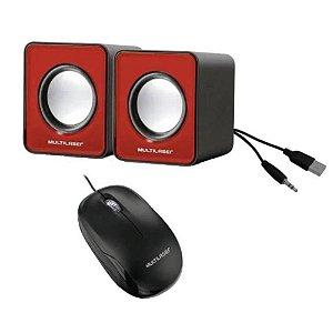 Kit Informatica Caixa De Som Esterio E Mouse Óptico Com Fio