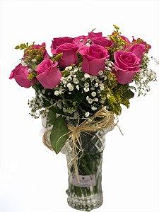 Jarra de 12 rosas pink