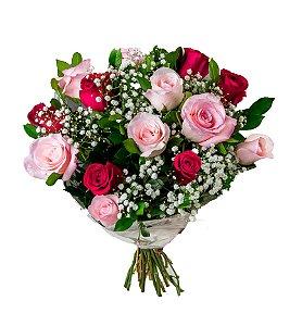 Bouquet de Rosas Vermelhas e Rosas