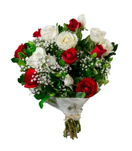 Bouquet de Rosas Brancas e Vermelhas