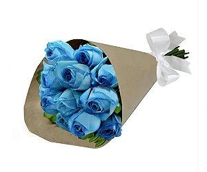 Bouquet de Rosas Azuis no kraft