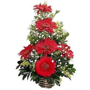 Ikebana de gerberas vermelhas