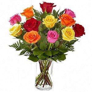Jarra de vidro de rosas Coloridas
