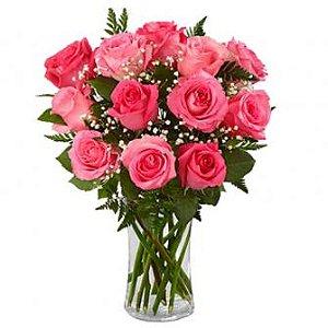 Jarra de vidro de rosas Rosa