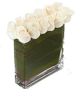 Retângulo de rosas brancas