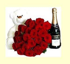 Urso com 24 rosas vermelhas + chandon baby