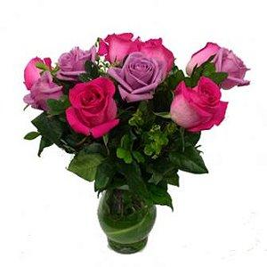 Jarra de Rosas Pink e Lilás