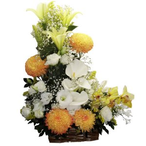 Ikebana amarela e branca