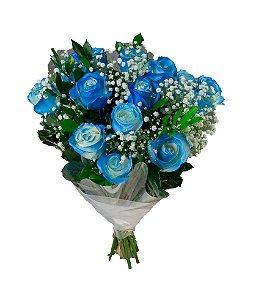 Belíssimo bouquet de rosas azuis