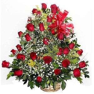 Cesta grande de 2 dz rosas vermelhas