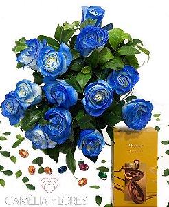Bouquet azul com ovo kopenhagen