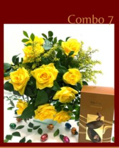 Bouquet rosas amarelas com ovo kopenhagen
