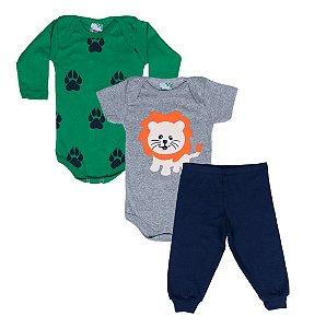 Kit Body Baby Menino Leão Verde - Lumagy